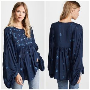 Free People Kiss From A Rose Beaded Floral Blouse